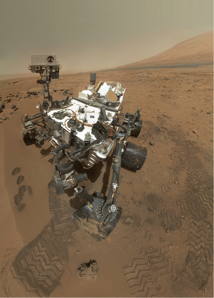 Self portrait of Curiosity in Gale Crater, Mars, with Mt. Sharp in the background. (NASA/JPL/MSSS)